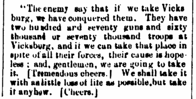 An article about the Battle of Vicksburg, National Aegis newspaper article 21 March 1863
