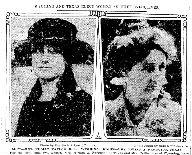 An article about the elections of Miriam A. Ferguson and Nellie Tayloe Ross, Oregonian newspaper article 6 November 1924