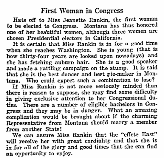 An article about Jeannette Rankin, Philadelphia Inquirer newspaper article 13 November 1916