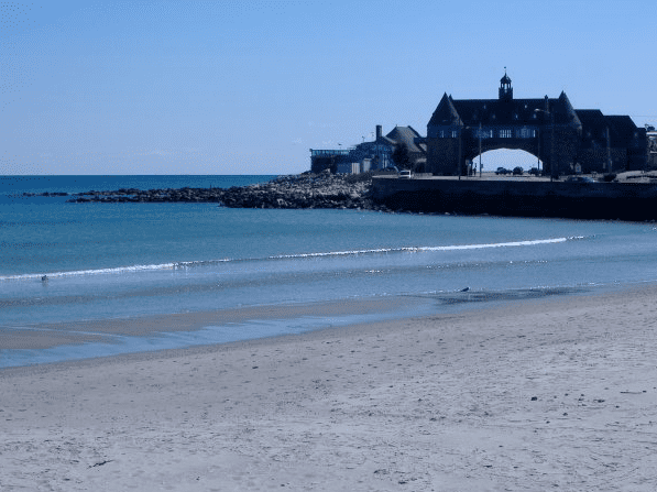 Photo: Narragansett Towers and Narragansett Town Beach, Rhode Island