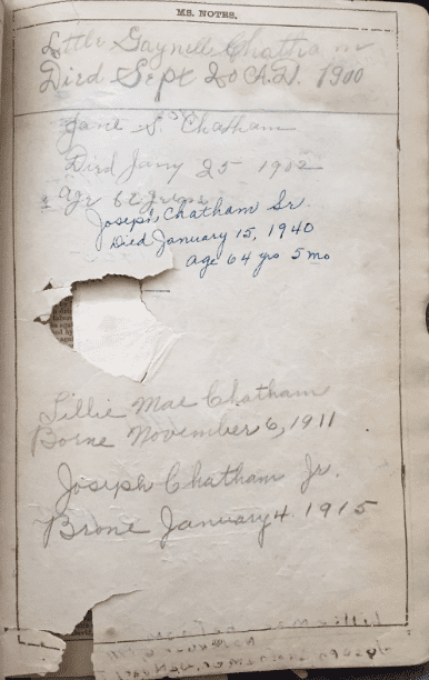 Photo: family records entered into a Bible