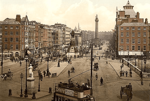 Photocrom: Sackville Street and O'Connell Bridge, Dublin, County Dublin, Ireland, c. 1895. Credit: U.S. Library of Congress, Prints and Photographs Division.
