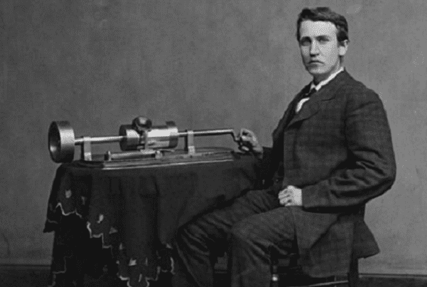 Photo: Thomas Edison and his early phonograph, c. 1878. Credit: U.S. Library of Congress, Prints and Photographs Division.