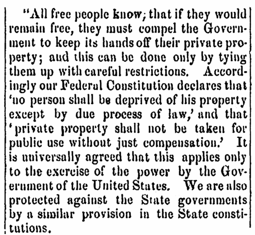 A speech by Stephen A. Douglas, Pioneer and Democrat newspaper article 6 January 1860