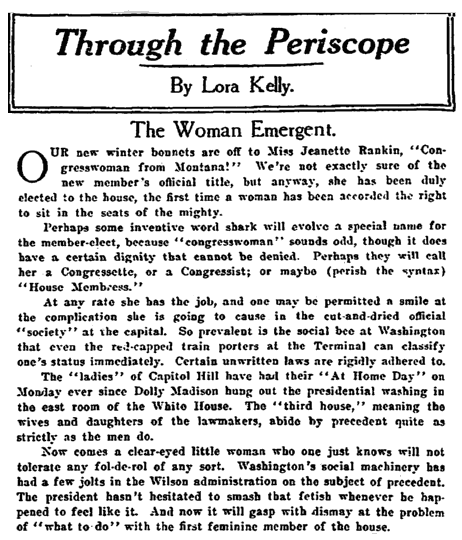 An article about Jeannette Rankin, Plain Dealer newspaper article 13 November 1916