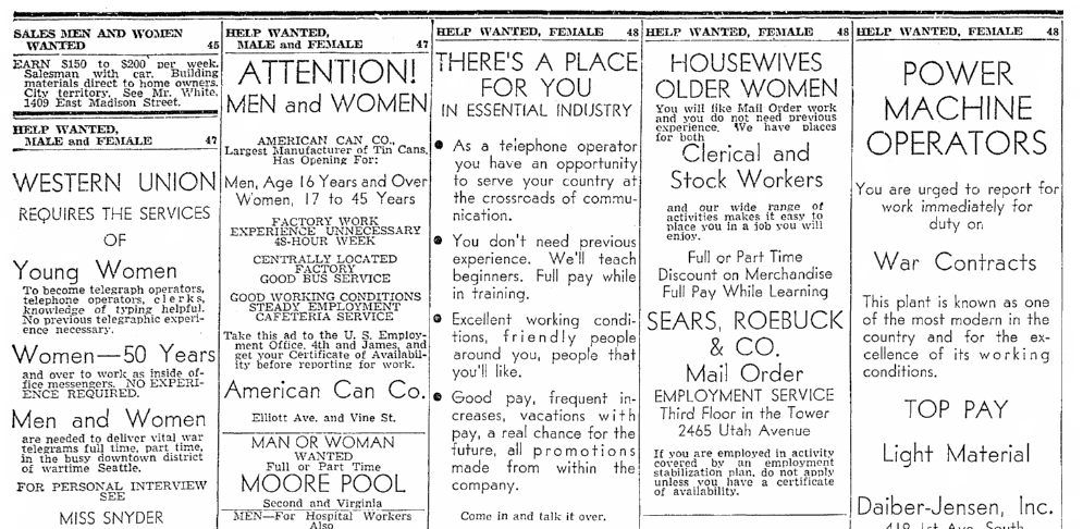 Classified ads, Seattle Daily Times newspaper advertisements 10 June 1943