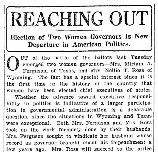 An article about the elections of Miriam A. Ferguson and Nellie Tayloe Ross, Seattle Daily Times newspaper article 9 November 1924
