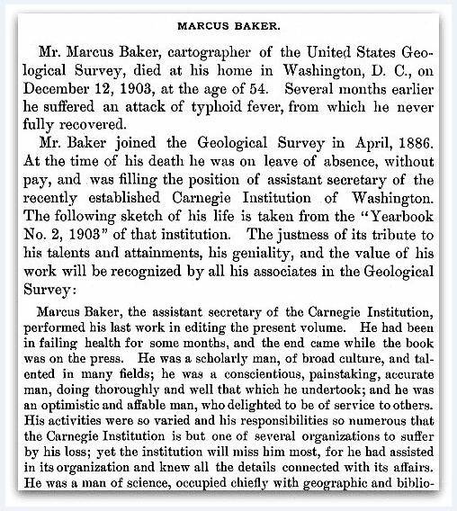 An obituary for Marcus Baker, Twenty-fifth annual report of the United States Geological Survey 1904