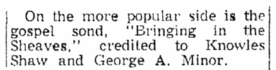 """An article about the hymn """"Bringing in the Sheaves,"""" Springfield Union newspaper article 22 November 1953"""