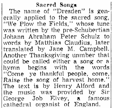 An article about Thanksgiving hymns, Springfield Union newspaper article 22 November 1953