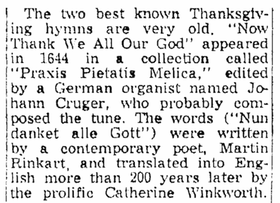 """An article about the Thanksgiving hymn """"Now Thank We All Our God,"""" Springfield Union newspaper article 22 November 1953"""
