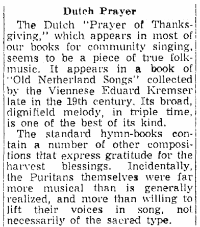 """An article about the Thanksgiving hymn """"Prayer of Thanksgiving,"""" Springfield Union newspaper article 22 November 1953"""