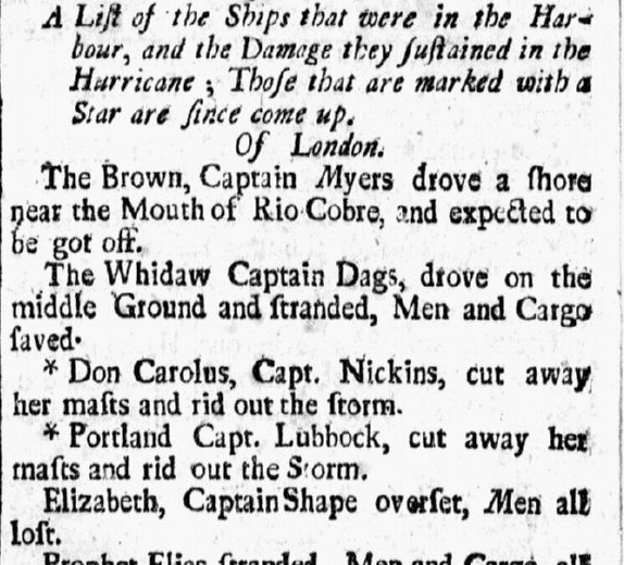 An article about ships damaged in a hurricane, American Weekly Mercury newspaper article 18 December 1722