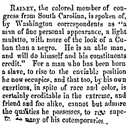 An article about Joseph Hayne Rainey, Annapolis Gazette newspaper article 27 December 1870