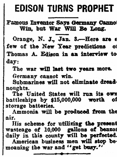 An article about New Year's predictions, Arkansas Gazette newspaper article 4 January 1915