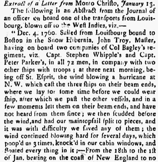 An article about a hurricane, Boston Evening-Post newspaper article 23 February 1761