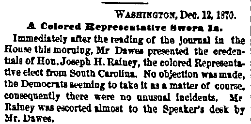 An article about Joseph Hayne Rainey, Boston Journal newspaper article 13 December 1870