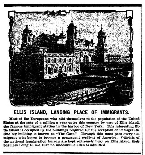 An article about Ellis Island, Bridgeton Evening News newspaper article 23 April 1907