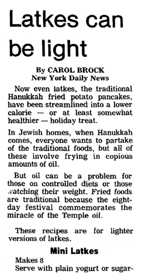 An article about Hanukkah and latkes, Centre Daily Times newspaper article 8 December 1985