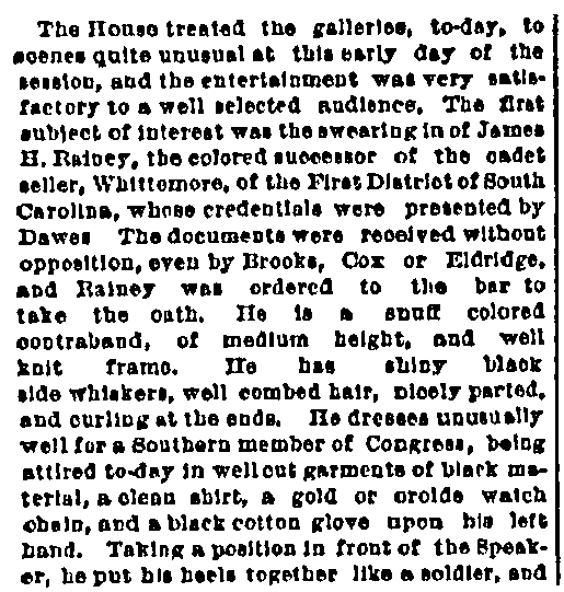 An article about Joseph Hayne Rainey, Cincinnati Commercial Tribune newspaper article 13 December 1870