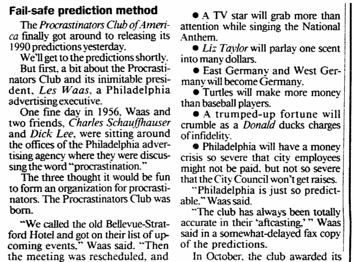 An article about New Year's predictions, Daily Advocate newspaper article 31 December 1990
