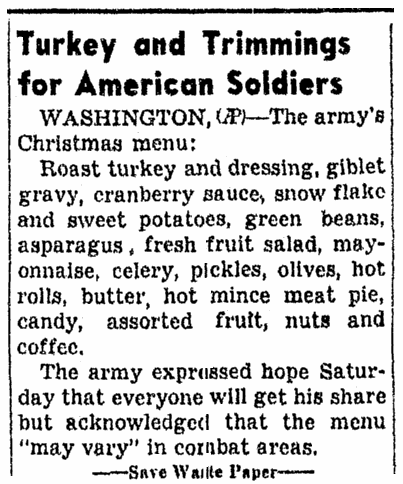 An article about the Christmas menu during WWII, Daily Nonpareil newspaper article 24 December 1944