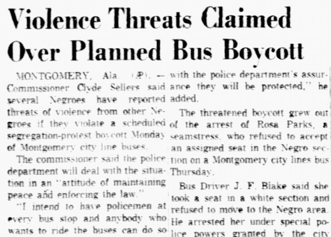 An article about the Montgomery Bus Boycott, Dallas Morning News newspaper article 5 December 195