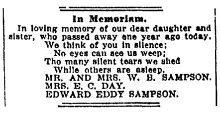 In memoriam notice, Denver Rocky Mountain News newspaper article 25 October 1918