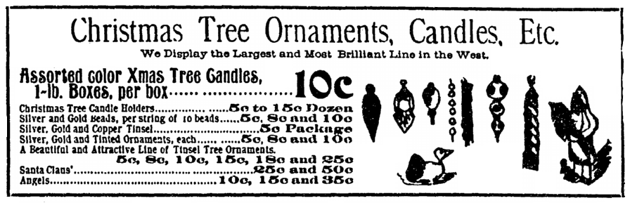 An ad for Christmas tree decorations, Denver Rocky Mountain News newspaper advertisement 15 December 1895