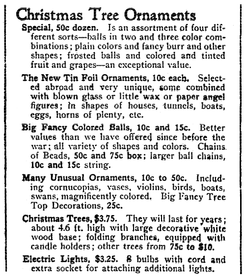An ad for Christmas tree decorations, Evening Star newspaper advertisement 24 November 1922
