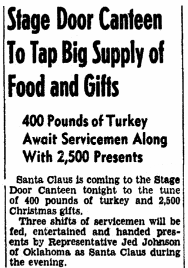 An article about the Christmas menu during WWII, Evening Star newspaper article 25 December 1942