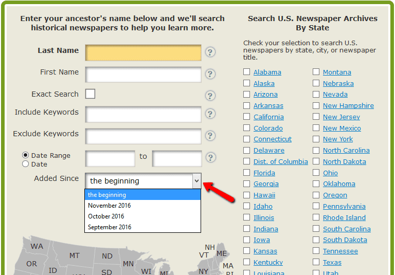A screenshot of GenealogyBank's newspaper search page showing the ability to seach only on the most recently added content