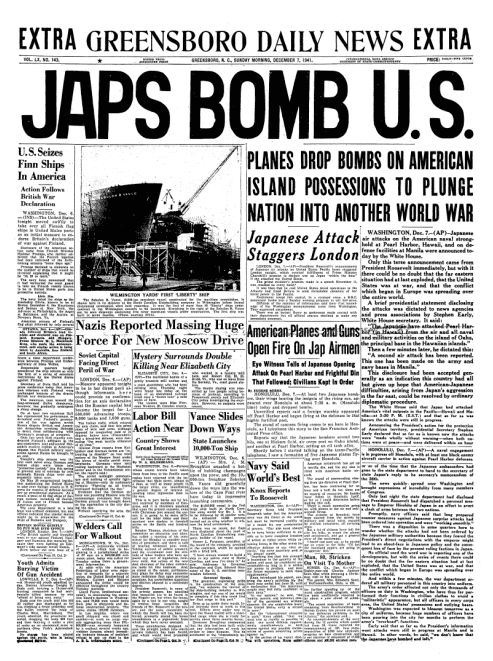 An article about Japan's attack on Pearl Harbor, Greensboro Daily News newspaper article 7 December 1941