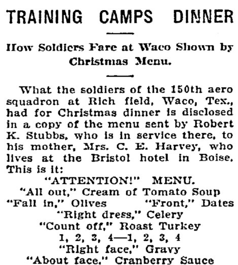 An article about the Christmas menu for soldiers in 1918, Idaho Statesman newspaper article 3 January 1918