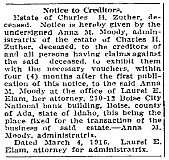 Probate notice for the estate of Charles Zuther, Idaho Statesman newspaper article 26 March 1916
