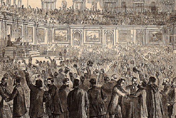 Illustration: cartoon depicting celebration in the House of Representatives after adoption of the Thirteenth Amendment, 18 February 1865. Credit: Harper's Weekly; Wikimedia Commons.