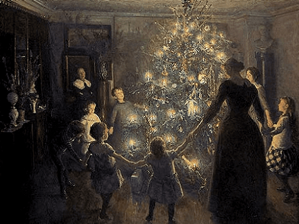 "Illustration: ""Happy Christmas"" by Viggo Johansen, 1891. Credit: Den Hirschsprungske Samling; Wikimedia Commons."
