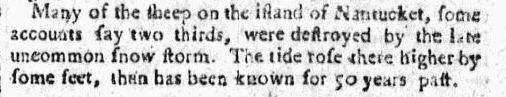 An article about a snowstorm in Nantucket, Massachusetts, Independent Ledger newspaper article 25 January 1779