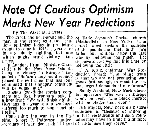 An article about New Year's predictions, Lexington Herald newspaper article 31 December 1944