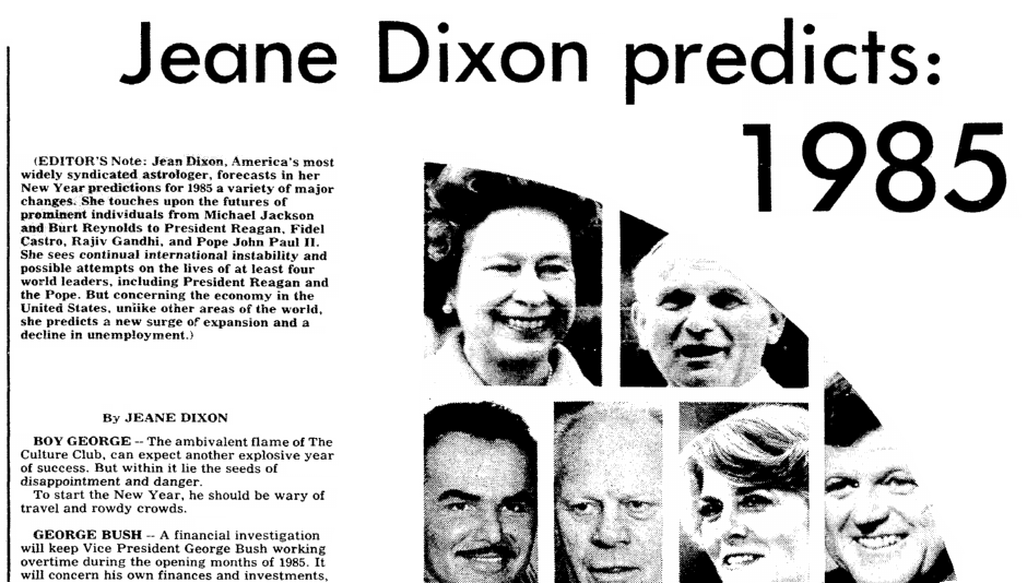An article about New Year's predictions, Mobile Register newspaper article 6 January 1985