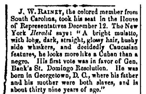 An article about Joseph Hayne Rainey, Morning Republican newspaper article 20 December 1870