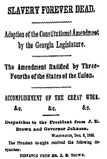 An article about the ratification of the Thirteenth Amendment, New York Herald newspaper article 7 December 1865