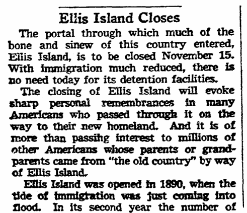 An article about Ellis Island, Omaha World-Herald newspaper article 24 October 1954