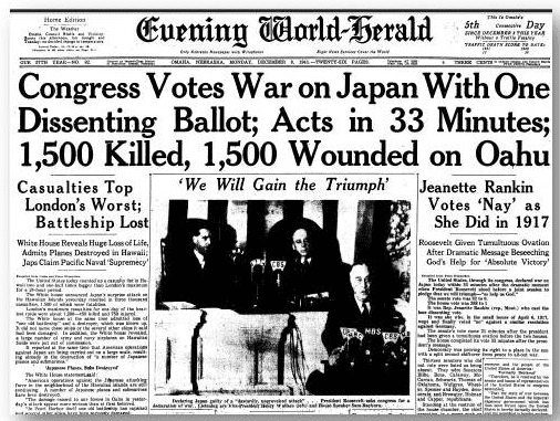 An article about the U.S. declaring war on Japan after the attack on Pearl Harbor, Omaha World Herald newspaper article 8 December 1941
