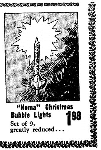 An ad for Christmas tree lights, Omaha World-Herald newspaper advertisement 14 December 1949