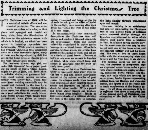 An article about Christmas tree decorations, Philadelphia Inquirer newspaper article 18 December 1904