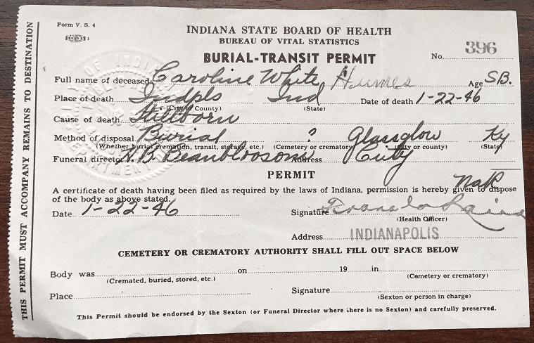 Photo: burial permit