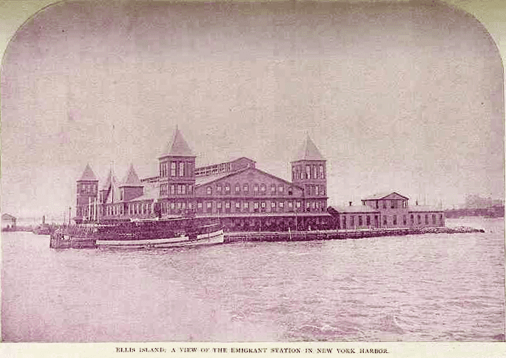 Photo: first Ellis Island Immigration Station in New York Harbor. Opened 2 January 1892. Completely destroyed by fire on 15 June 1897