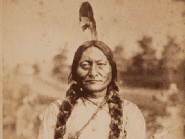 Photo: early Cabinet card of Sitting Bull, 1881. Credit: Orlando Scott Goff; Wikimedia Commons.