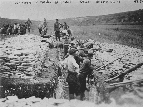 Photo: U.S. troops in trench in France, WWI. Credit: Library of Congress, Prints and Photographs Division.